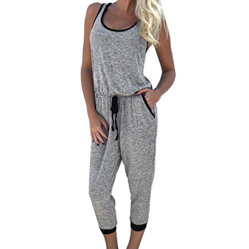 NOMENI Women Sleeveless Clubwear Playsuit Party Jumpsuit Romper Long Trousers (L)