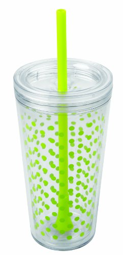 Copco 2510-0431 Minimus Tumbler With Straw, 24-Ounce, Lime Dots front-518564