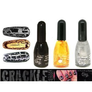 La Femme Crackle Nail Varnish Set Of 3 Black, Silver And Gold