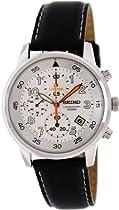 Seiko White Dial Black Leather Chronograph Mens Watch SNDE11