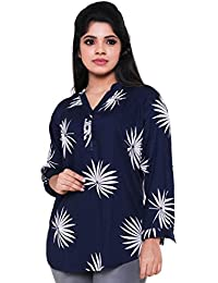 Twist Women's Navy Blue Floral Printed Party Wear Casual 3/4th Sleeve Short Kurti Tops