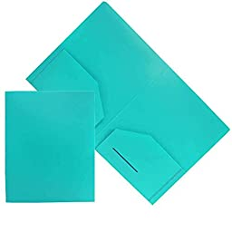 JAM Paper Heavy Duty Plastic Two Pocket Presentation Folders - Teal Blue - 6/pack