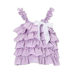 Lavender & Whtie Girls Cotton Ruffle Tank, Size 4T
