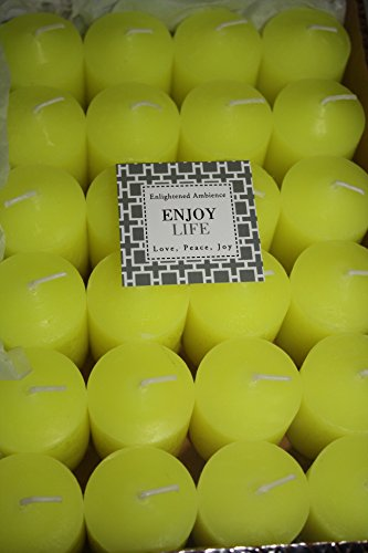 24 Votive Candles Fresh Scented Tea Party In Yellow, Long-Burning, 100% Guarantee, Bulk Set