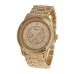 Geneva Platinum 9158 Women's Decorative Chronograph-style Link Watch-RGOLD