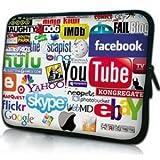 ノートPC Mac タブレット ケース バッグ 防水インナーケース Facebook YouTube YAHOO! Google skypeロゴ (15inch(38cm×29.5cm×2cm))