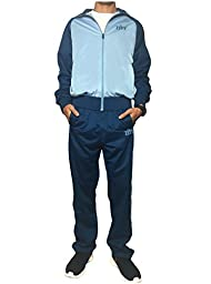 ZITY Men\'s Active Zippper Long Sleeve 2-pc Tracksuit set Stell/Seaport 02 Large