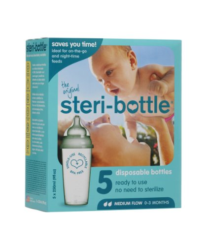 Steribottle BPA-Free 0-3 Months Baby Bottles Medium Flow, Clear, 5-Count - 1