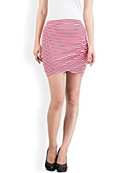 Hypernation Red and White Color Stylish Stripped Mini Skirts For Women