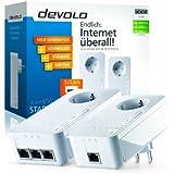 Devolo dLAN 650 triple+ Starter Kit (600 Mbit/s, 3 LAN Ports, Steckdose, Datenfilter, Powerline) weiß