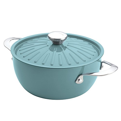 Single Piece Blue Round Casserole, 4-1/2-Quart Covered PFOA-Free Nonstick, Oven Safe, Modern Rustic Design, Oval Shape, Crafted With Durable Aluminum construction, Dual Riveted, Sky Blue, Teal