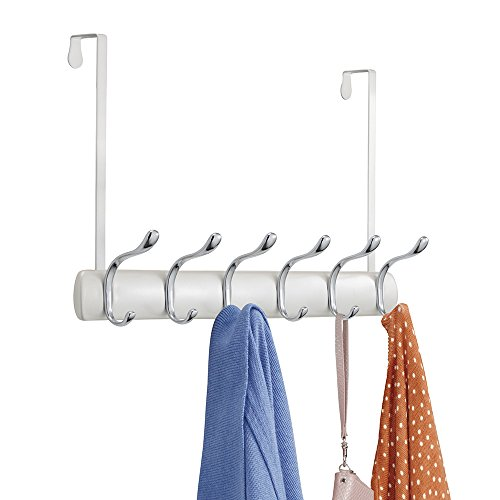 mDesign Over the Door 12-Hook Rack for Coats, Hats, Robes, Towels - Pearl White/Chrome (Cap Rack Over The Door compare prices)