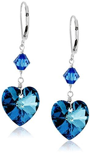 Sterling Silver Bermuda Blue Heart Crystal Swarovski Drop Earrings (Bermuda Blue Crystal Ring compare prices)