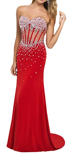 Harshori Sweetheart Corset Style Bodice Strapless Crystals Evening Gown 8 Red