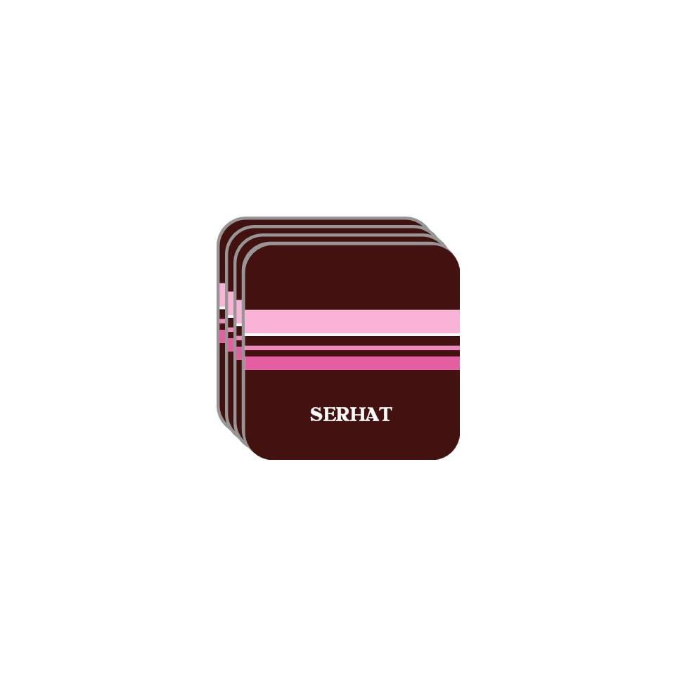 Personal Name Gift   SERHAT Set of 4 Mini Mousepad Coasters (pink design)