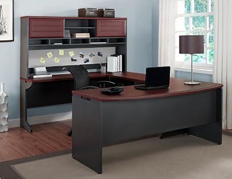 Amazing Benjamin U shaped Desk with Included Hutch in Cherry u Grey Finish