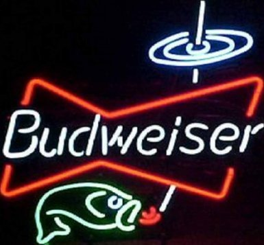 FUTURE(TM) Budweiser Bowtie fish Neon Sign Aluminum Composite Panel (ACP) Home Beer Bar Pub Wall Signs (Budweiser Bowtie fish)
