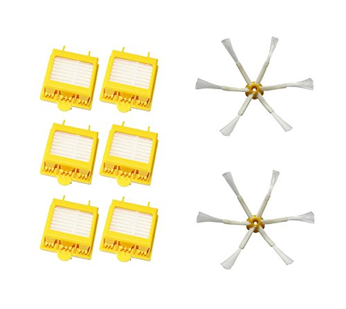 Shp-Zone 6 Hepa Filters + 2 Side Brushes 6-Armed For Irobot Roomba 700 Series 760 770 780 Vacuum Cleaning Robots