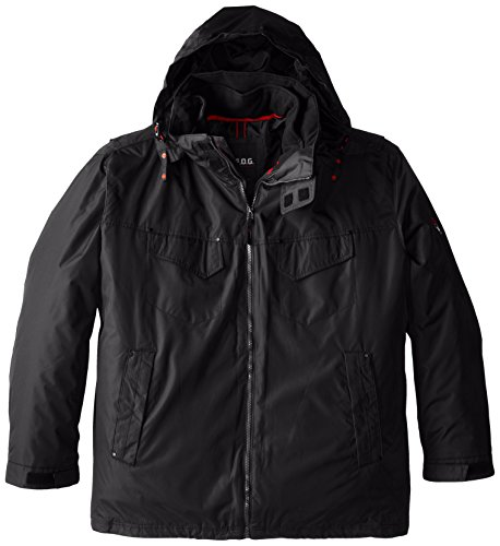 FOG by London Fog Men's Ellington Anorak Jacket with Removable Hood, Black, 2X Big