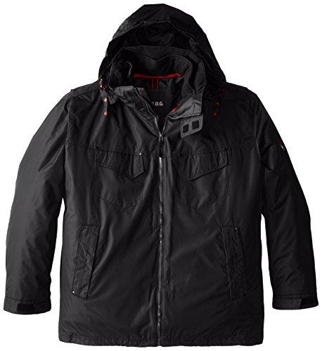 FOG by London Fog Men's Ellington Anorak Jacket with Removable Hood, Black, 2X Big