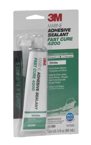 3M Marine Adhesive/Sealant Fast Cure 4200, 05260, White, 3 oz