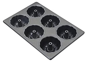 Focus Foodservice Commercial Bakeware 6 Count 3-7/8-Inch Non-Stick Fluted Mini Tube Cake Pan