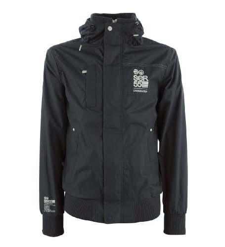 Crosshatch 'Eckle' Men's Hooded Zip-Thru Windbreaker Jacket Dark Shadow S