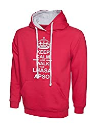 Keep Calm And Walk The Lhasa Apso Dog Hot Pink Contrast Hoody