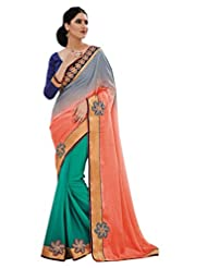 Beautiful Fancy Jacquard Multi-Coloured Saree With Blouse
