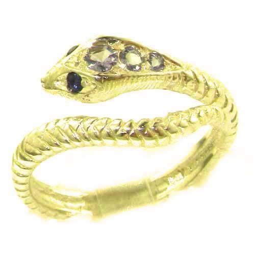 Fabulous Solid 14K Yellow Gold Natural Tanzanite & Sapphire Detailed Snake Ring - Size 9.25 - Finger Sizes 5 to 12 Available - Perfect Gift for Birthday, Christmas, Valentines Day, Mothers Day, Mom, Mother, Grandmother, Daughter, Graduation, Bridesmaid.