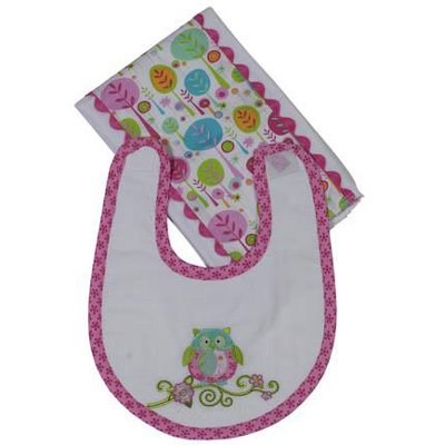 Maison Chic Girl Owl Boxed Bib & Burp Gift Set (Pink)