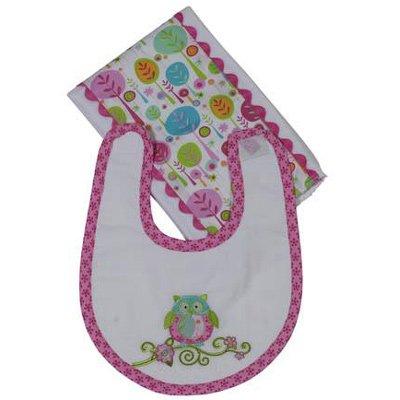 Maison Chic Girl Owl Boxed Bib & Burp Gift Set (Pink)