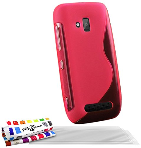 Muzzano CASPERIA ORIGINAL F60S7-86056966 Le S Premium weiche Schutzschale für Nokia Lumia 610 (3x Ultraklare Bildschirmschutzfilme) rosa