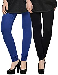 Kjaggs Women's Cotton Lycra Regular Fit Leggings Combo - Pack Of 2 (KTL-DB-1-14, Blue, Black)