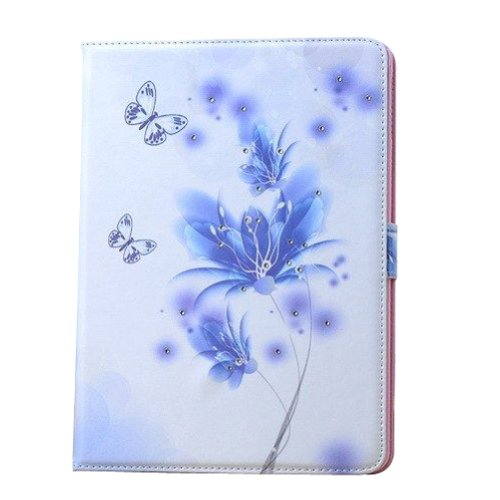 Topideal Colorful Crystal Diamond Shinning Butterfly Flower Style Flip Folio Leather Case Stand Cover for Apple ipad 2 3 4