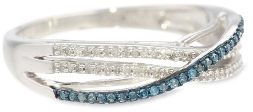 Sterling Silver Blue and White Diamond Twist Ring (1/4 cttw, ), Size 7