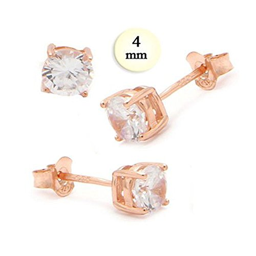 Sterling Silver Rose Gold Plated Stud Earrings Aprx .50 Carat Total Weight, 4Mm Each Clear Round Simulated Diamond Earring On High Qulaity Prong Setting With Friction Style Post