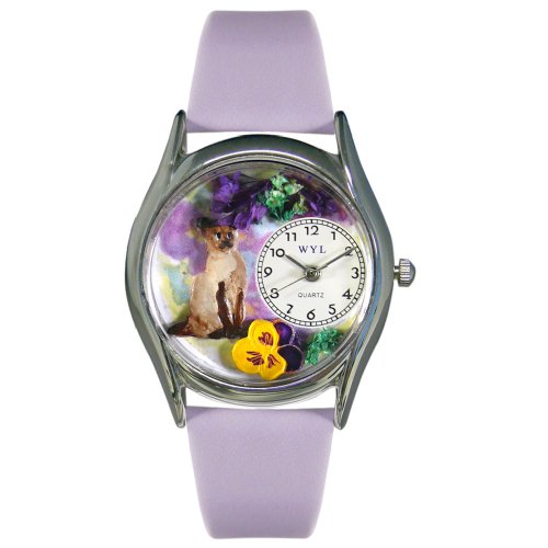 Whimsical Watches Women's S0120004 Siamese Cat Lavender Leather Watch