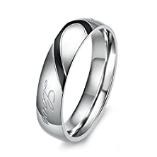 "buy Men'S ""Real Love"" Heart Stainless Steel Band Ring Valentine Love Couples Wedding Engagement Promise Size13"
