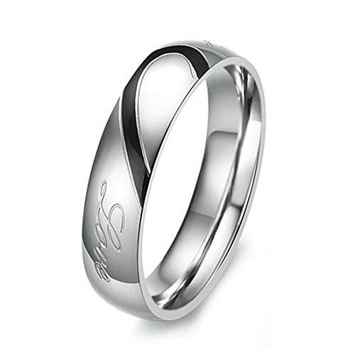 Men's Stainless Steel Band Ring Silver Tone Heart Valentine Love Couple Wedding Engagement Promise Size8