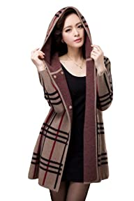 Camii Mia Women's Winter Long 100% Mink Cashmere Coat Hoodie