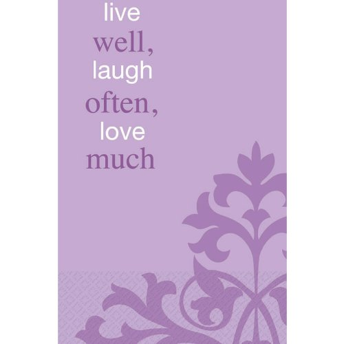 "Amscan Decorative Live Well Laugh Often Party Paper Hand Towels (16 Pack), 4-1/2 x 7-3/4"", Lavender"