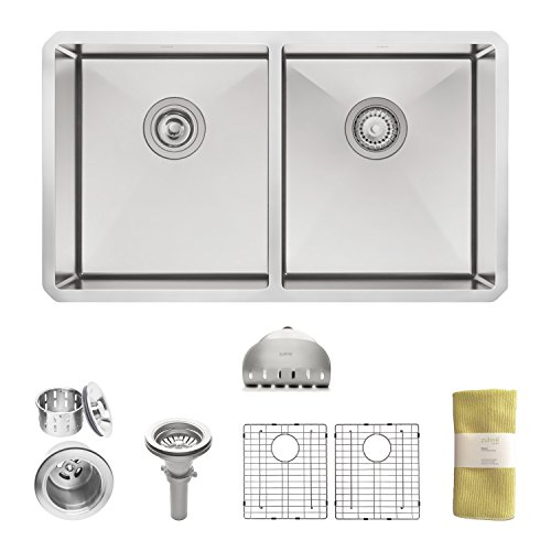 Zuhne 32 Inch Undermount 50/50 Deep Double Bowl 16 Gauge Stainless Steel Modern Kitchen Sink