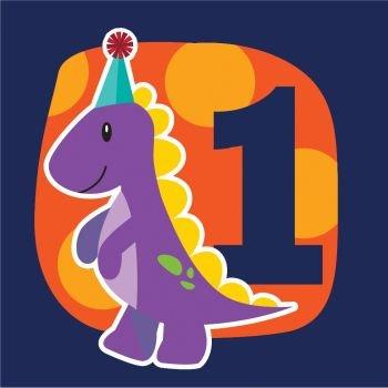 Little Dino Party Luncheon Napkin 1st Birthday (16) Dinosaur Party Supplies