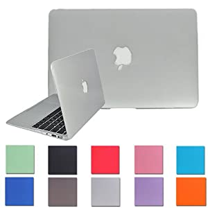 HDE Frosted Matte Rubber Coated Hard Shell Clip Snap-on Case Skin Cover for Macbook Pro 15-inch Retina Display - A1398 (Light Grey)