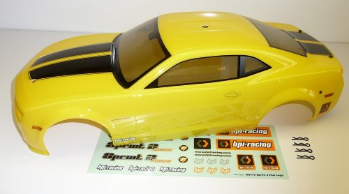 HPI Sprint 2 Flux * 2010 CAMARO BODY YELLOW * Shell Cover Mustang Silver 106159 (2002 Rc Camaro Body compare prices)