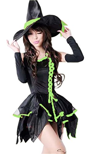 [LifeWheel Halloween Masquerade Costumes Witch Dress Pretend Play Clothing And Witch Hat] (Best Prohibition Costumes)