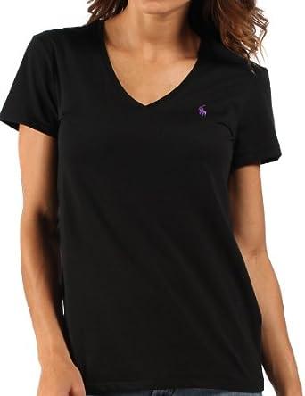 ralph lauren damen t shirt lila pony mit v ausschnitt schwarz gr xl bekleidung. Black Bedroom Furniture Sets. Home Design Ideas