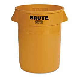 Rubbermaid Commercial FG263200YEL Brute LLDPE Heavy-Duty Trash Can without Lid, 32-gallon, Yellow