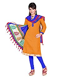 Indian Designer Bollywood Casual Wear Bhagalpuri Silk Orange Un Stitch Branded A-line pattern Salwar Suit ladies Dress Material From Lookslady